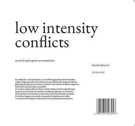 low intensity conflicts - franck leibovici - éditions MF